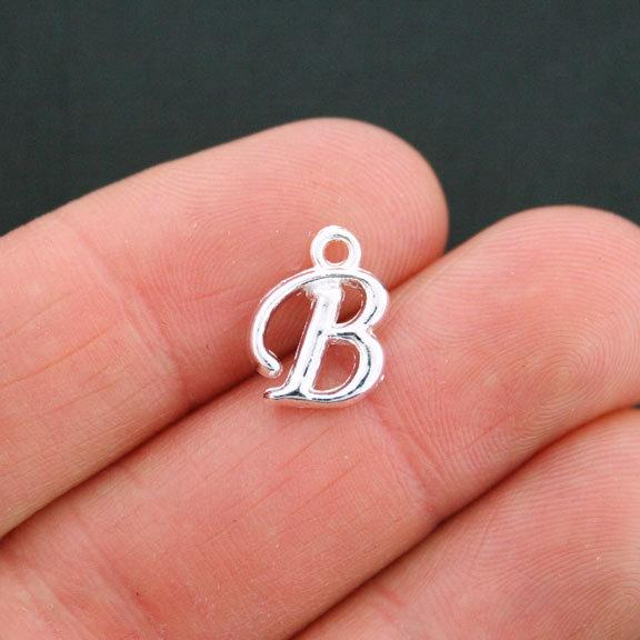 6 Letter B Antique Silver Tone Charms - SC5349
