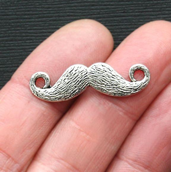 6 Mustache Connector Antique Silver Tone Charms - SC3069