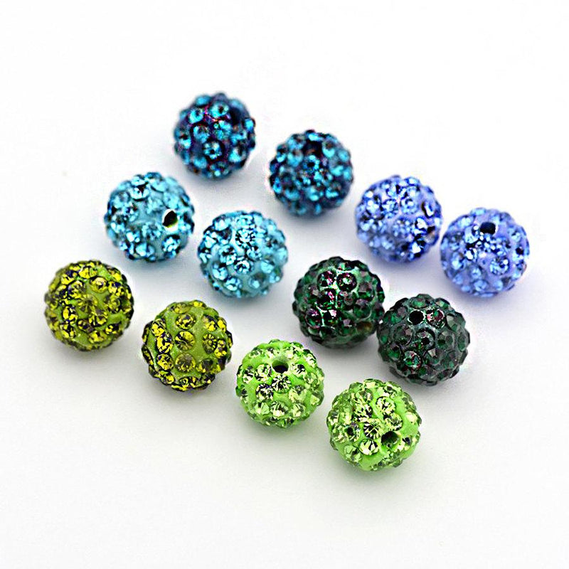 Round Polymer Clay Rhinestone Beads 10mm - Assorted Blues and Greens - 6 Beads - BD028