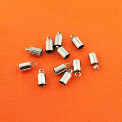 Stainless Steel Cord Ends - 10mm x 5mm - 6 Pieces - FD220