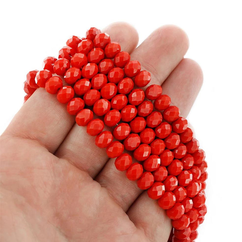 Faceted Glass Beads 8mm x 6mm - Ruby Red - 1 Strand 71 Beads - BD1658
