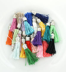 Nylon Tassels - Assorted Rainbow and Silver Tone - 5 Pieces - Z221