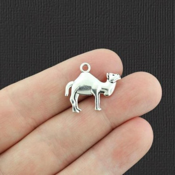 10 Camel Antique Silver Tone Charms 2 Sided - SC5854