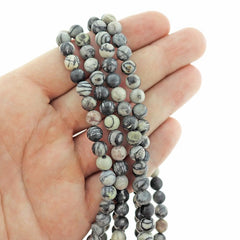 Round Natural Netstone Beads 6mm - Charcoal Grey - 1 Strand 63 Beads - BD2536