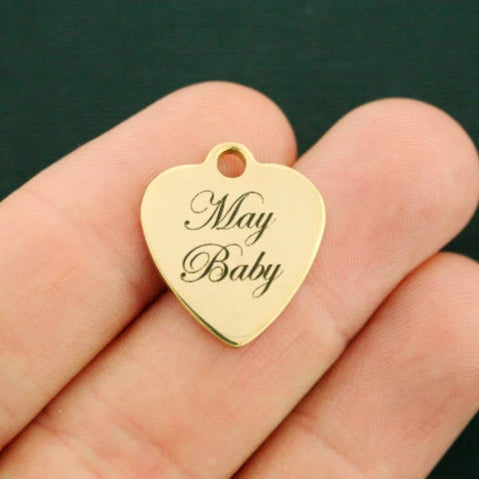 Birthday Gold Stainless Steel Charm - May Baby - Exclusive Line - Quantity Options - BFS2639GOLD