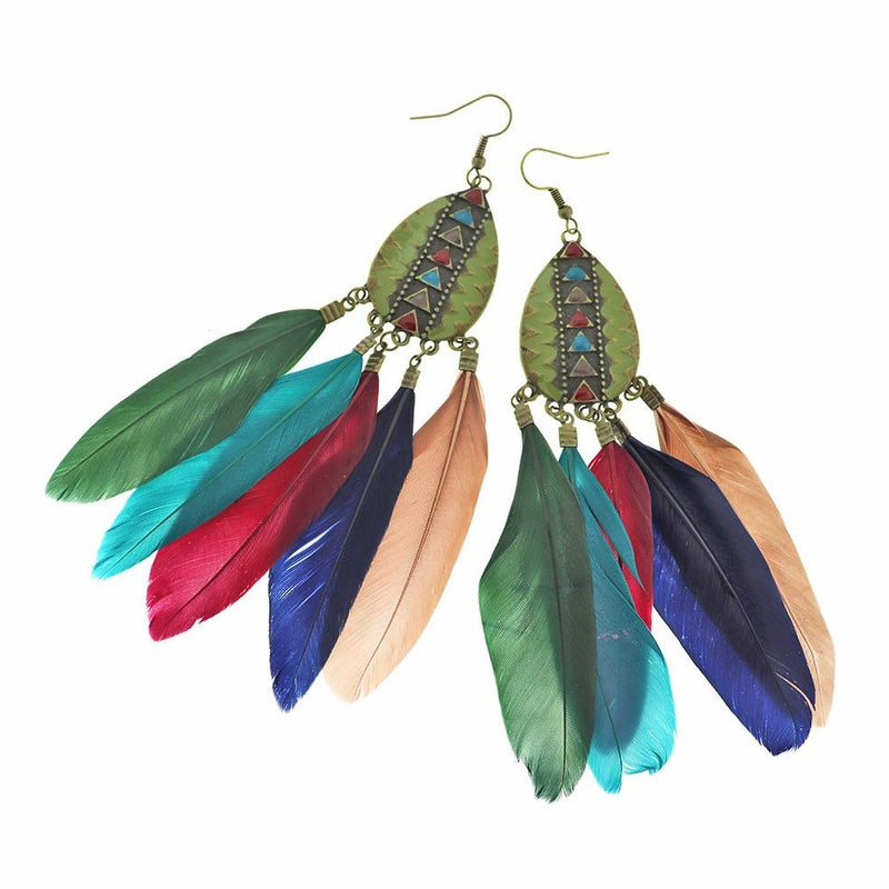 2 Feather Dreamcatcher Earrings - French Hook Style - 1 Pair - Z1224