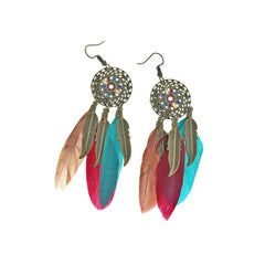 2 Feather Dreamcatcher Earrings - French Hook Style - 1 Pair - Z1225