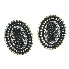 4 Black Woven Lace Oval Gold Tone Pendants - TSP102-A