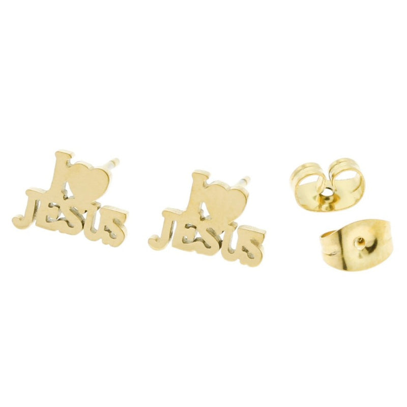 Gold Stainless Steel Earrings - I Love Jesus Studs - 10mm x 7mm - 2 Pieces 1 Pair - ER007