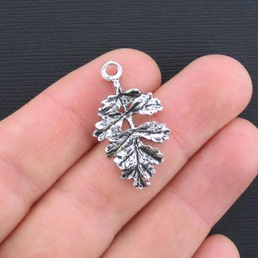 6 Leaf Antique Silver Tone Charms 2 Sided - SC1636