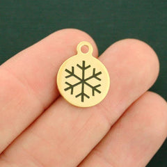 Winter Gold Stainless Steel Charm - Snowflake - Smaller Size - Exclusive Line - Quantity Options - BFS2482GOLD