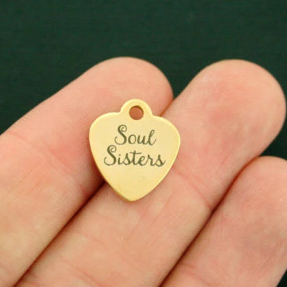 Best Friends Gold Stainless Steel Charm - Soul Sisters - Smaller Size - Exclusive Line - Quantity Options - BFS1837GOLD