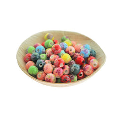 Round Porcelain Beads 10mm - Assorted Rainbow Floral - 12 Beads - BD2315