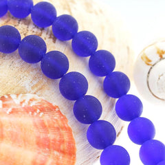 Round Cultured Sea Glass Beads 10mm - Royal Blue - 1 Strand 21 Beads - U147