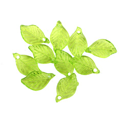 50 Frosted Leaf Acrylic Charms 2 Sided - Z497