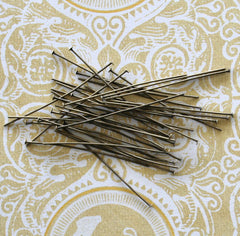 Antique Bronze Tone Flat Head Pins - 50mm - 300 Pieces - PIN16