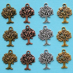 Tree Charm Collection Antique Silver Bronze Copper and Gold Tone 12 Charms - COL223