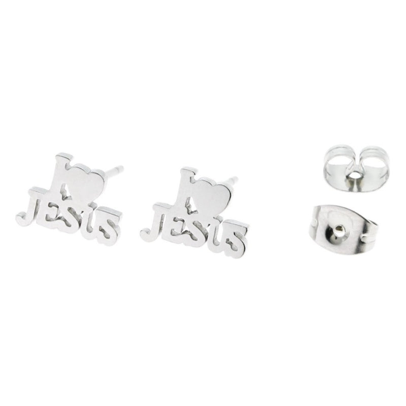 Stainless Steel Earrings - I Love Jesus Studs - 10mm x 7mm - 2 Pieces 1 Pair - ER028