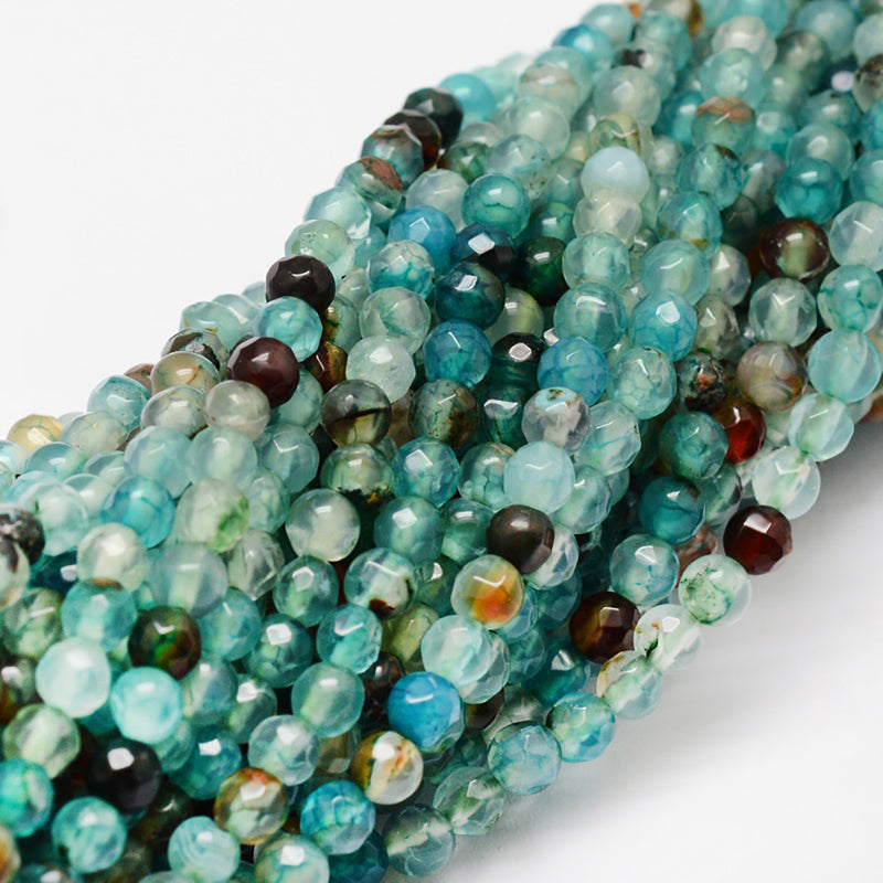 Faceted Natural Agate Beads 4mm - Ocean Turquoise - 1 Strand 92 Beads - BD1159