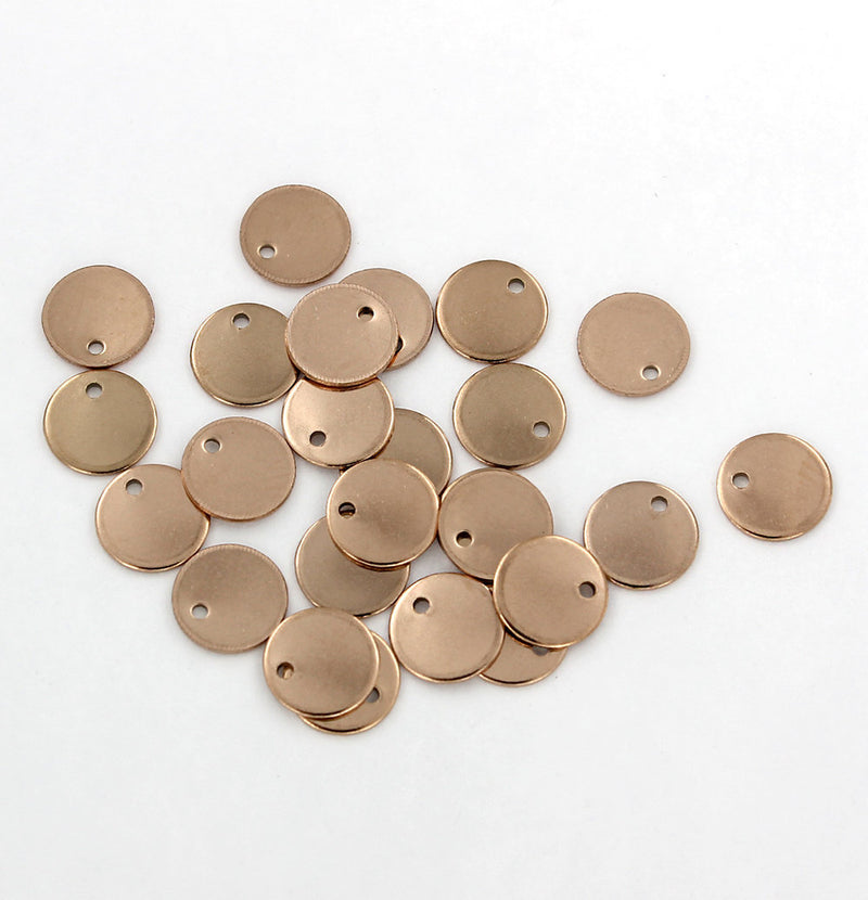 Circle Stamping Blanks - Rose Gold Stainless Steel - 10mm - 5 Tags - MT624