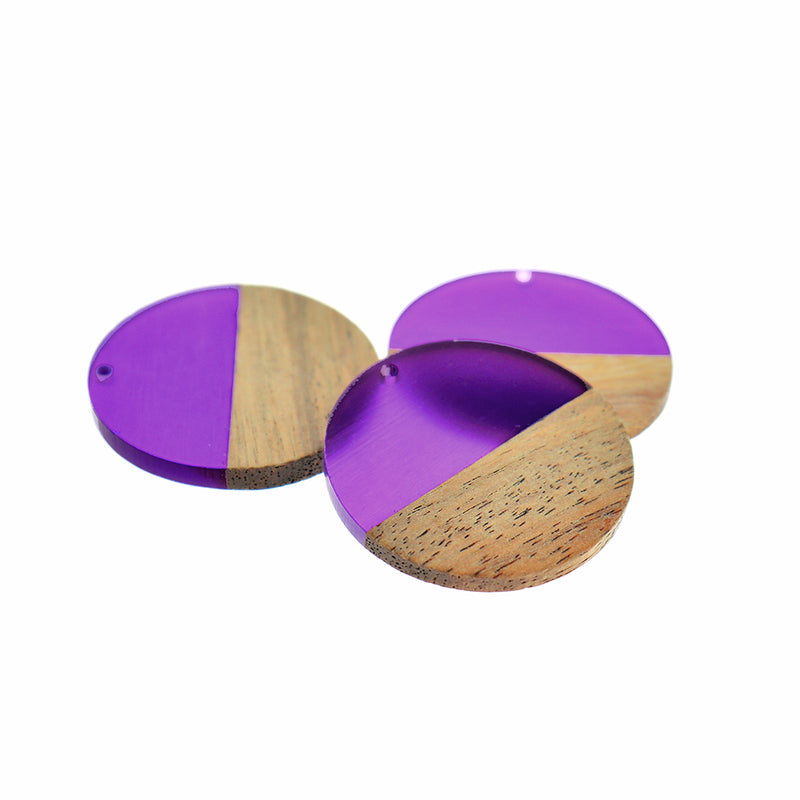Round Natural Wood and Vibrant Purple Resin Charm - Z1197