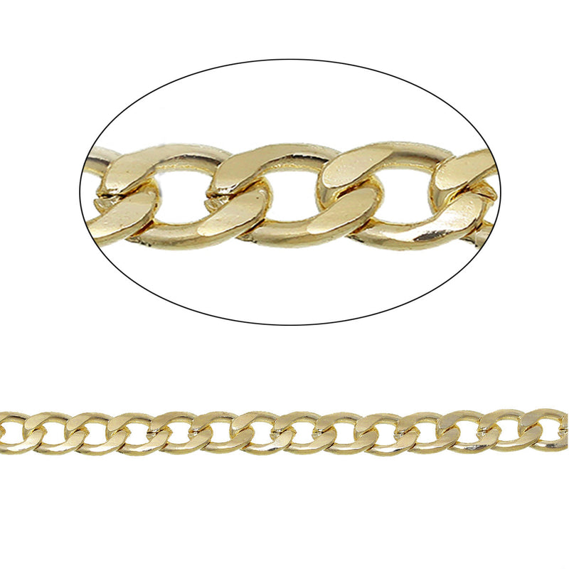 Bulk Gold Tone Curb Chain 6.5ft - 6mm - FD266