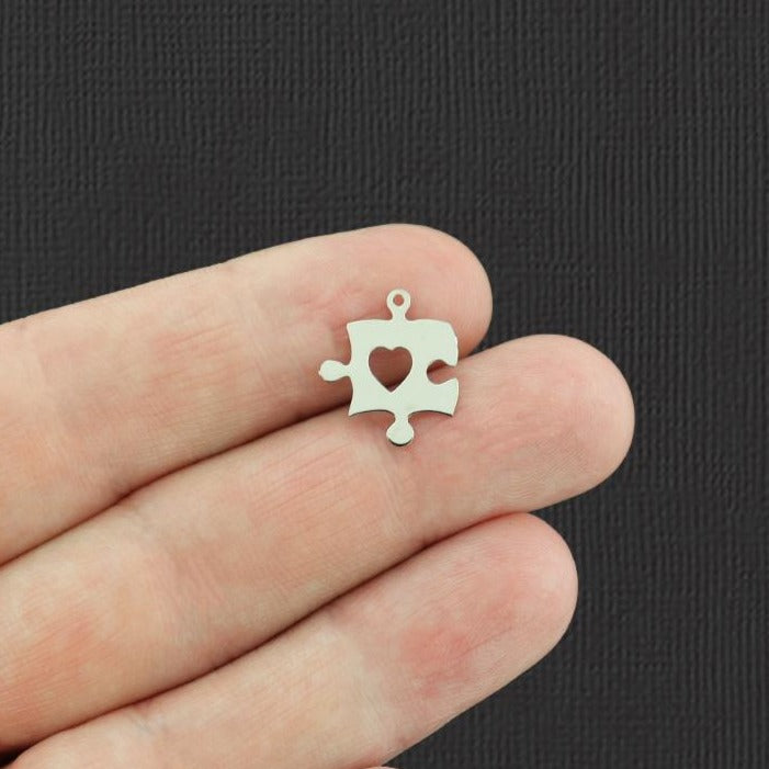 12 Puzzle Piece Silver Tone Charms 2 Sided - SC7230