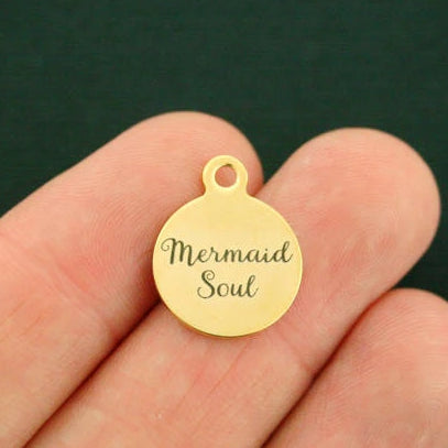 Fantasy Gold Stainless Steel Charm - Mermaid Soul - Smaller Size - Exclusive Line - Quantity Options - BFS1660GOLD