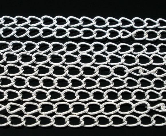 BULK Silver Tone Curb Chain 32Ft - 3.5mm - FD082