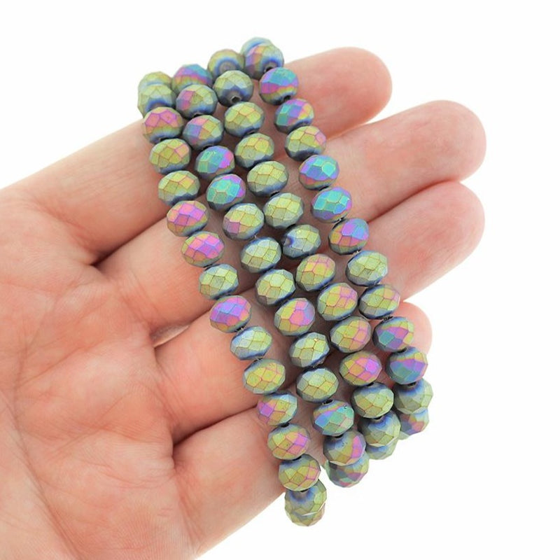 Faceted Glass Beads 8mm x 6mm - Frosted Rainbow Electroplated - 1 Strand 72 Beads - BD2405