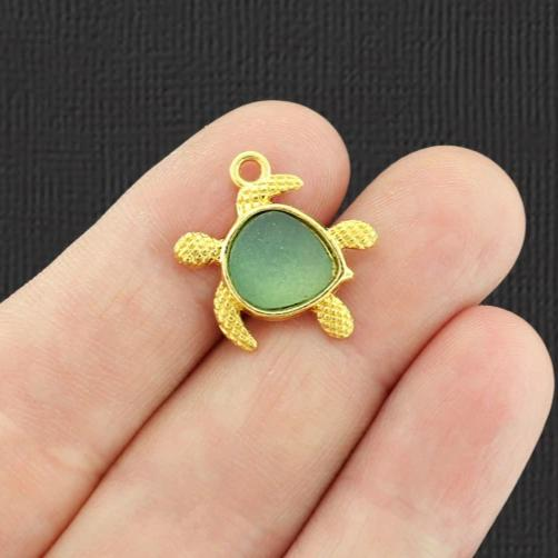 Turtle Antique Gold Tone Charm With Inset Green Seaglass - GC1457