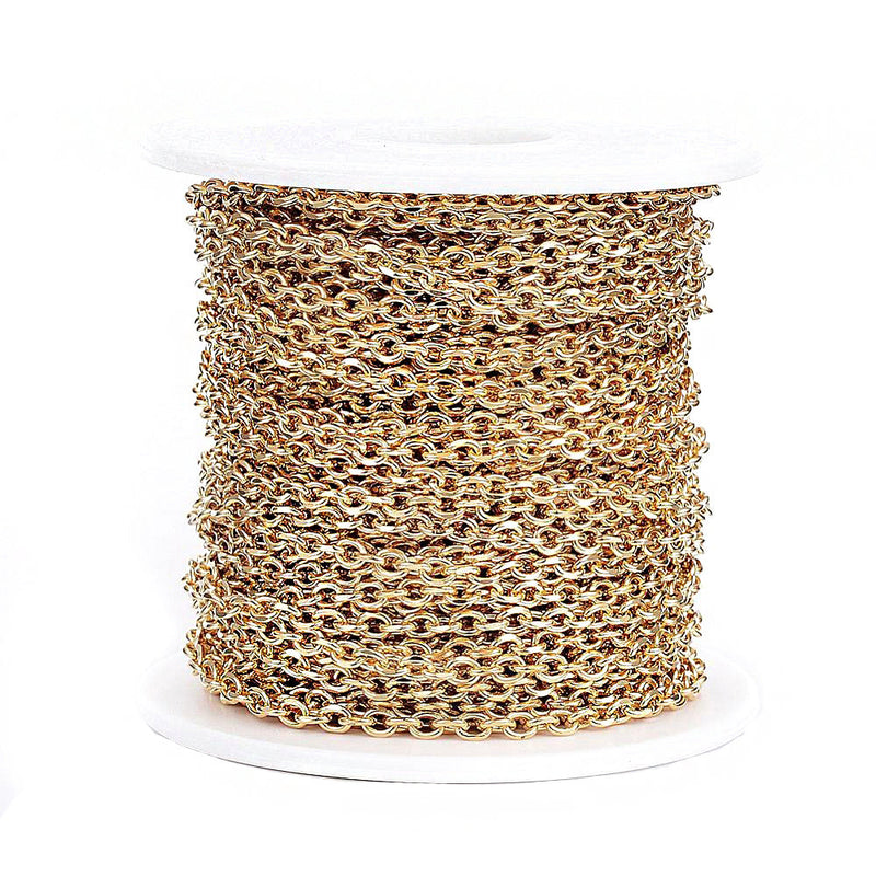 BULK Gold Tone Cable Chain 3.25Ft - 3mm - FD558