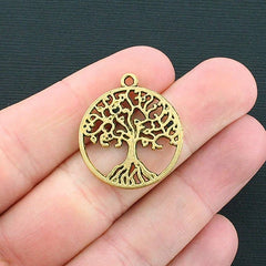 6 Tree of Life Antique Gold Tone Charms - GC458