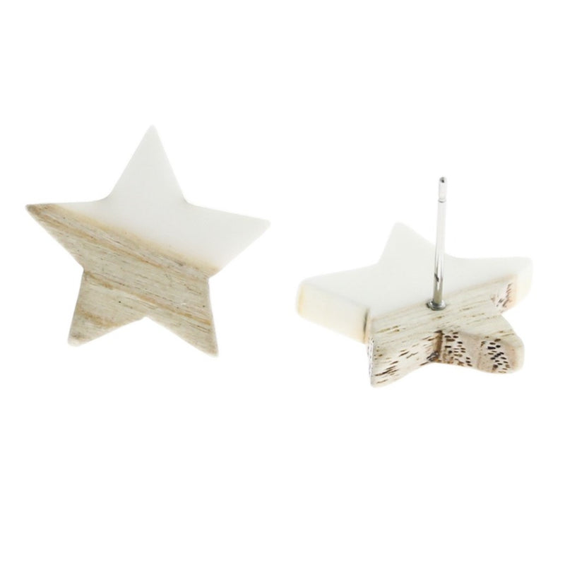 Wood Stainless Steel Earrings - White Resin Star Studs - 18mm x 17mm - 2 Pieces 1 Pair - ER138