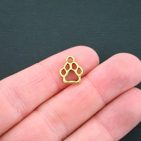 BULK 50 Dog Paw Antique Gold Tone Charms 2 Sided - GC024