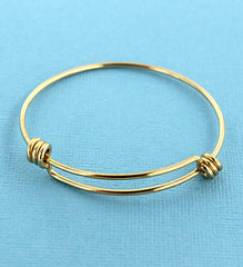 Gold Stainless Steel Adjustable Bangle - 63mm - 5 Bangles - N217