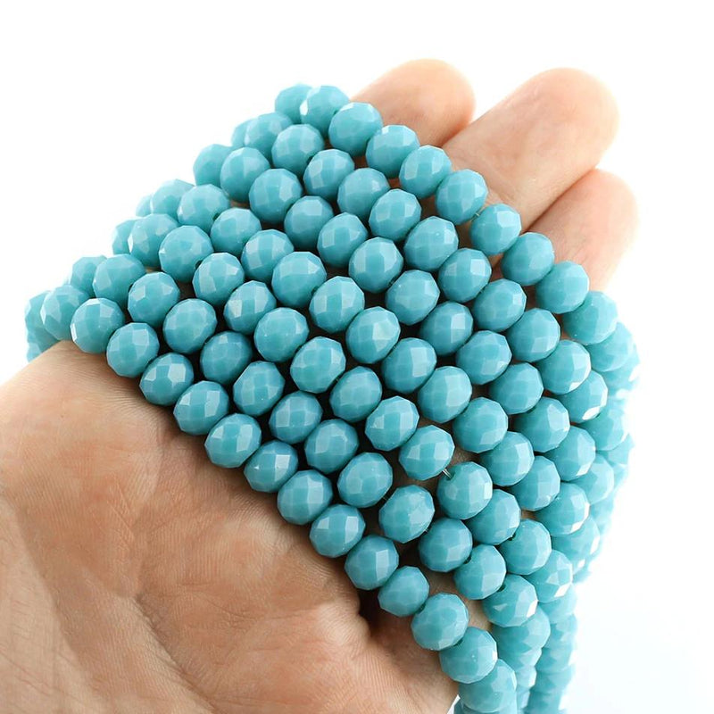 Faceted Glass Beads 8mm x 6mm - Turquoise Blue - 1 Strand 71 Beads - BD1657