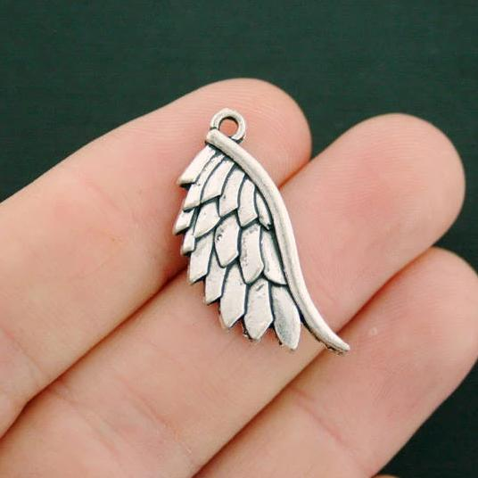 12 Angel Wing Charms Antique Silver Tone Open Design SC6140