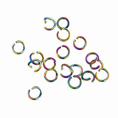 Rainbow Electroplated Stainless Steel Jump Rings 5mm x 0.8mm - Open 20 Gauge - 25 Rings - SS032