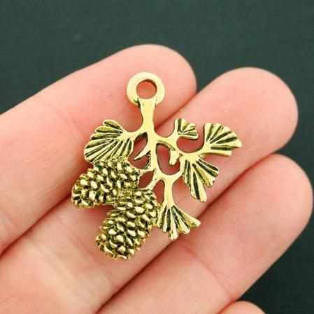 GC623 8 Forest Charms Antique Gold Tone 2 Sided Trees