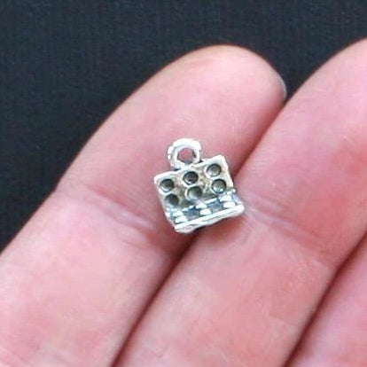 8 Egg Carton Antique Silver Tone Charms 2 Sided - SC1222