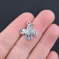 8 Flying Elephant Antique Silver Tone Charms - SC3298