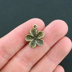 8 Flower Antique Bronze Tone Charms - BC1266