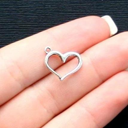 8 Heart Antique Silver Tone Charms 2 Sided - SC2510