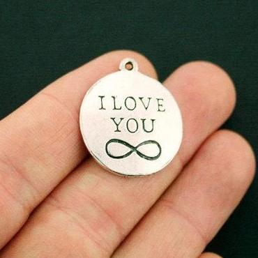 8 Infinity Charms Antique Silver Tone I Love You Forever SC6432