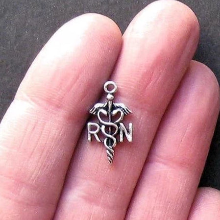 8 Nurse RN Antique Silver Tone Charms - SC720