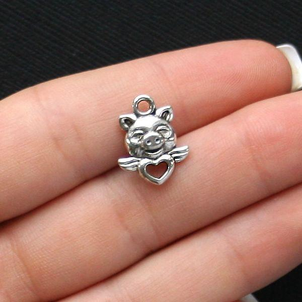 8 Pig Antique Silver Tone Charms - SC1532