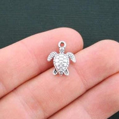 8 Turtle Antique Silver Tone Charms - SC294