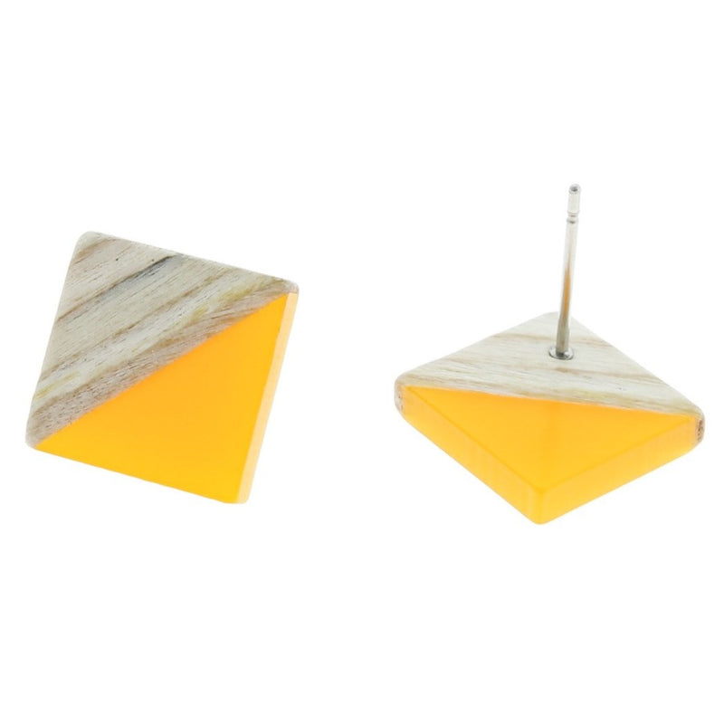 Wood Stainless Steel Earrings - Yellow Resin Rhombus Studs - 18mm x 17mm - 2 Pieces 1 Pair - ER154