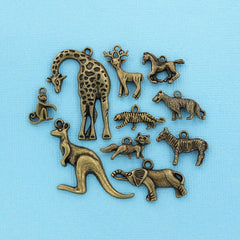 Animal Charm Collection Antique Bronze Tone 10 Different Charms - COL139